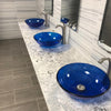 Blue Round Tempered Glass Vessel Bathroom Sink TIG-8025