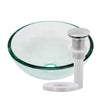 clear 12 inch round glass vessel sink with pop-up drain brushed nickel