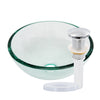 clear 12 inch round glass vessel sink with pop-up drain chrome