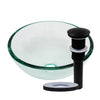 clear 12 inch round glass vessel sink with pop-up drain matte black