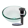 clear 12 inch round glass vessel sink with pop-up drain oil rubbed bronze