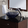 Clear Slate Grey Round Tempered Glass Vessel Bath Sink  - lifestyle