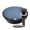 Clear Slate Grey Round Tempered Glass Vessel Bath Sink , Pop-Up Drain and  Mounting Ring Oil Rubbed Bronze