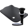 rectangular glass vessel sink with pop-up drain in matte black