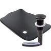 rectangular glass vessel sink with pop-up drain in oil rubbed bronze