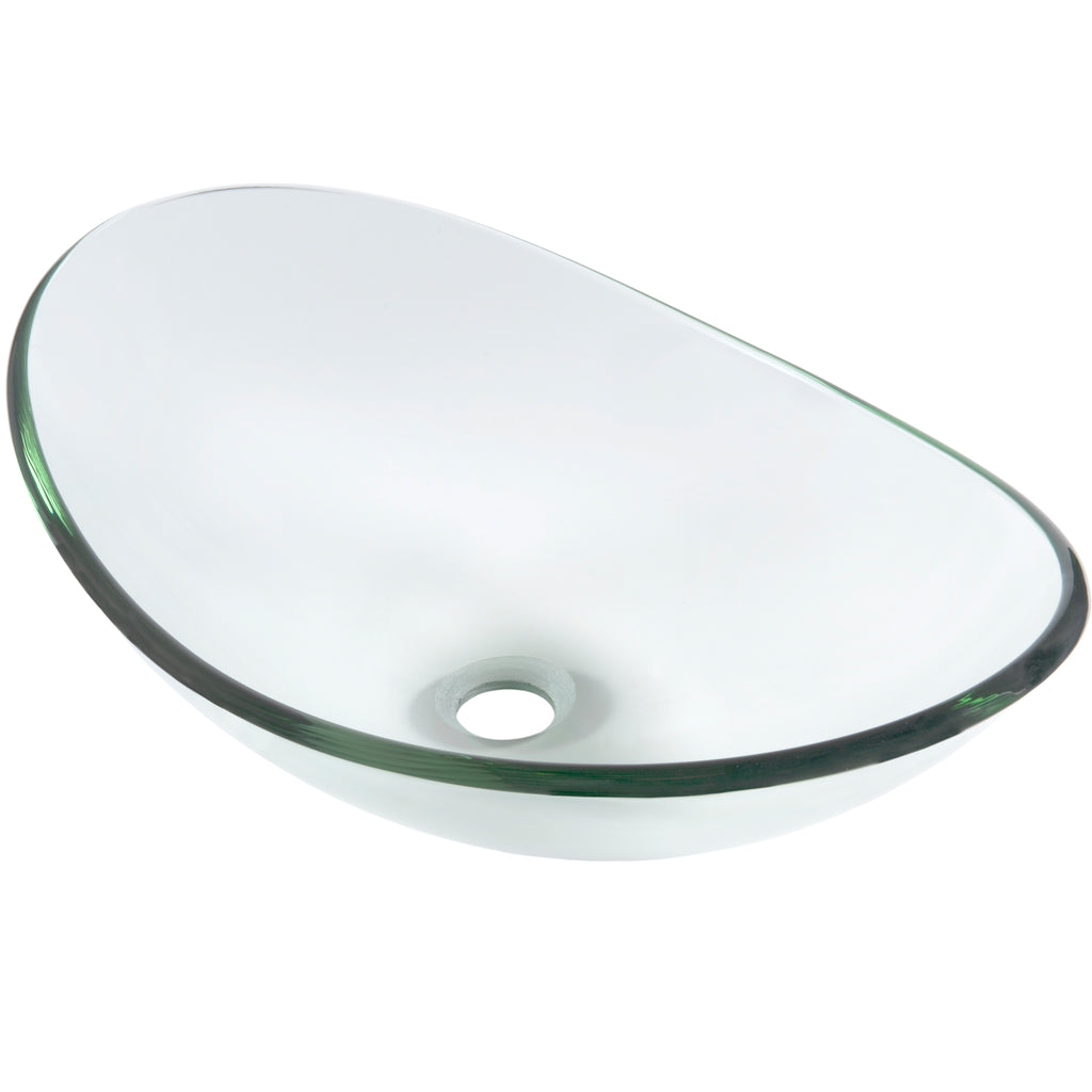Clear Oval Tempered Slipper Glass Vessel Bath Sink TIS-324C