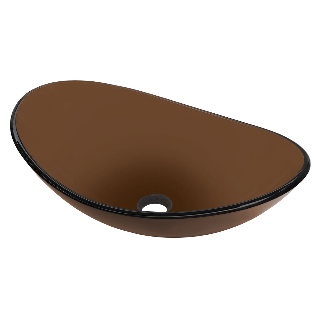 brown oval glass sink