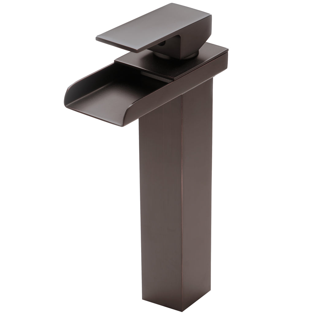 single handle modern vessel waterfall faucet in oil rubbed bronze