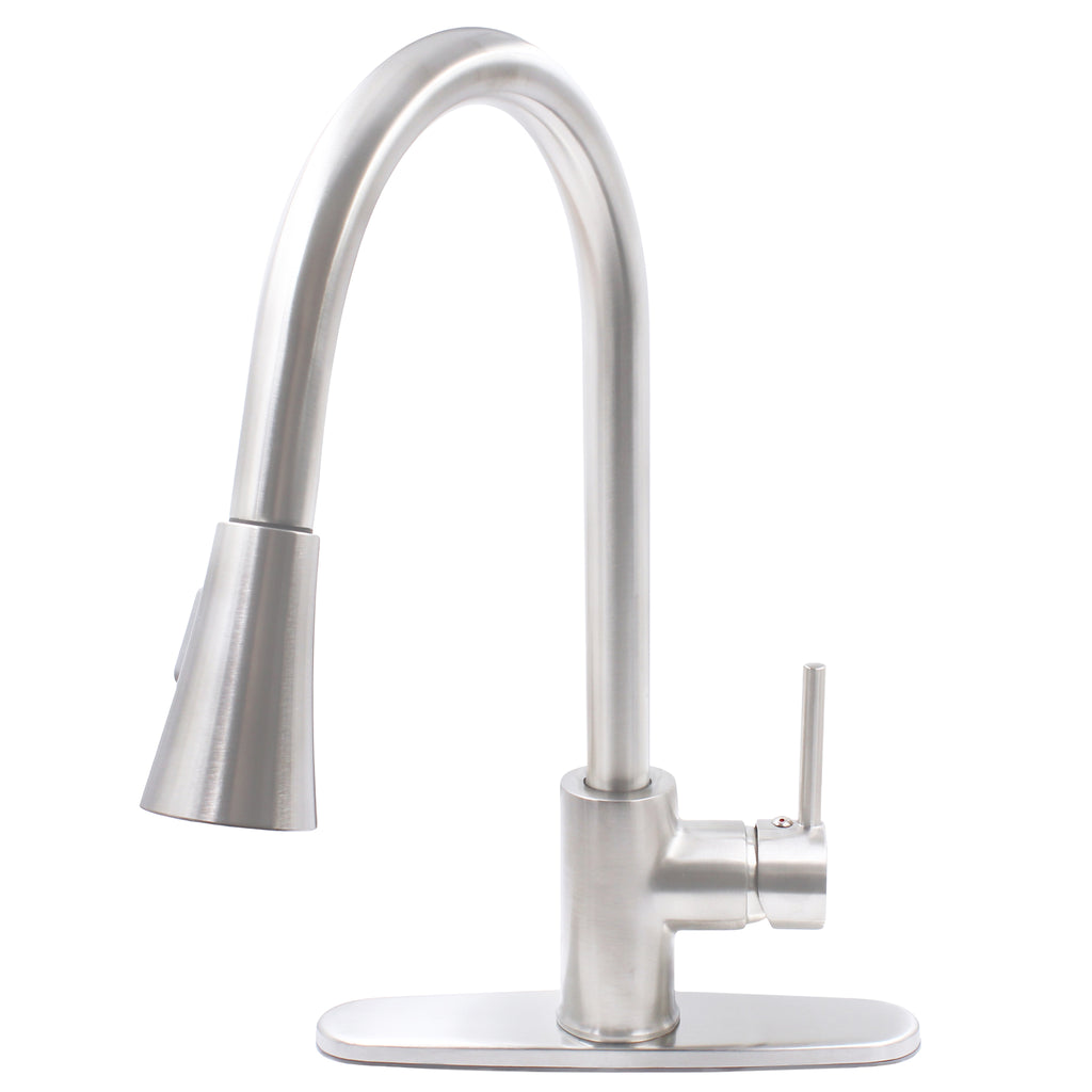 brushed nickel kitchen faucet with deck plate
