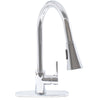 chrome kitchen faucet with deck plate