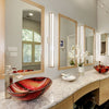 Red, yellow, and brown glass bath sink lifestyle