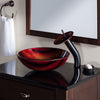Hand Painted Red and Yellow Glass Vessel Bath Sink NOHP-G013