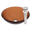 brown round glass sink with drain