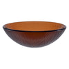 brown round glass sink