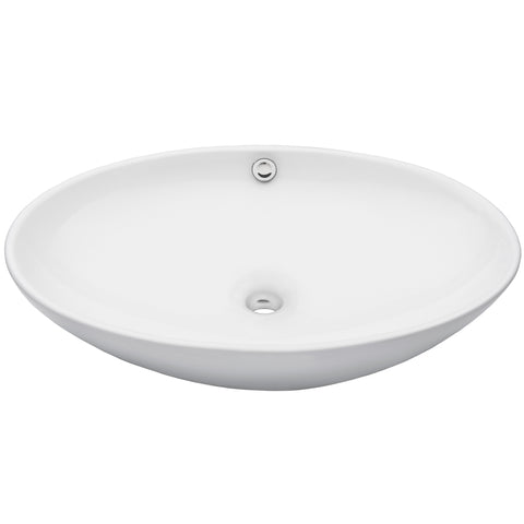 oval white porcelain sink