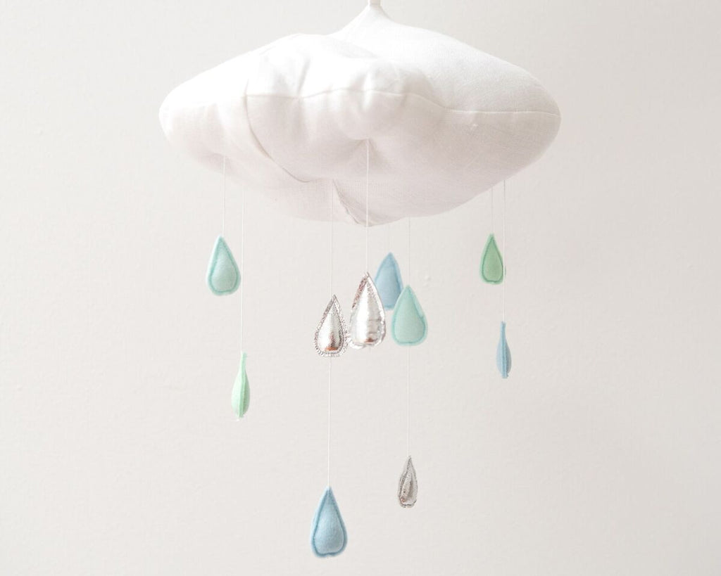 Decor wall decor mobiles little thieves boutique luxe color fade cloud mobile in silver and aqua amipublicfo Gallery