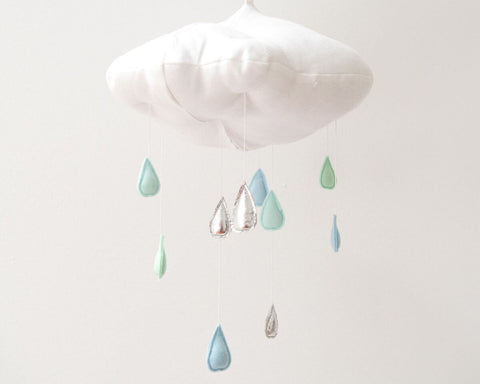 Luxe Color Fade Cloud Mobile in Silver and Aqua