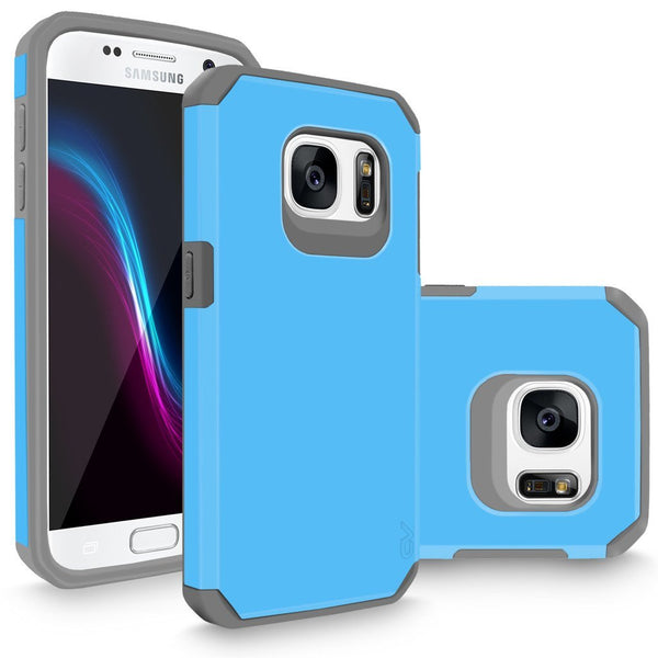 S7 Case, Galaxy S7 Case, Cellularvilla [Heavy Duty] High Impact Hybrid Dual Layer Protection Case [Hard Soft] Tough Armour Shock Reduction Bumper Cover For Samsung Galaxy S7 SM-G930 [Baby Blue Grey]