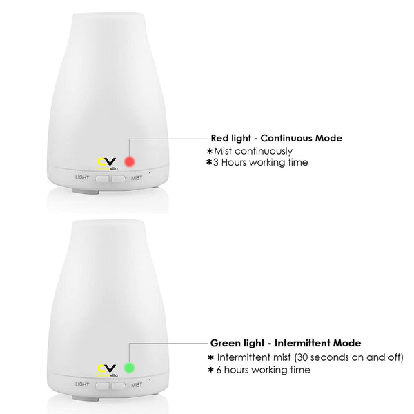 Cellularvilla Aromatherapy Essential Oil Diffuser 7 colors - 100 ml Portable Ultrasonic Cool Mist Aroma Humidifier with changing Colored LED Lights, [Waterless Auto Shut-off] and Adjustable Mist mode