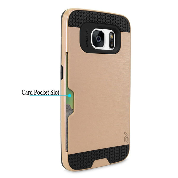 S7 Edge Case, Galaxy S7 Edge Case, Cellularvilla Armour Dual Layer Protective Soft TPU Shockproof Bumper Case with Card Slot Holder Hard Shell Cover For Samsung Galaxy S7 Edge