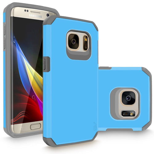 Galaxy S7 Edge Case, Cellularvilla [Heavy Duty] High Impact Hybrid Dual Layer Protection Case [Hard Soft] Tough Armour Shock Reduction Bumper Cover For Samsung Galaxy S7 Edge SM-G935 [Baby Blue Grey]
