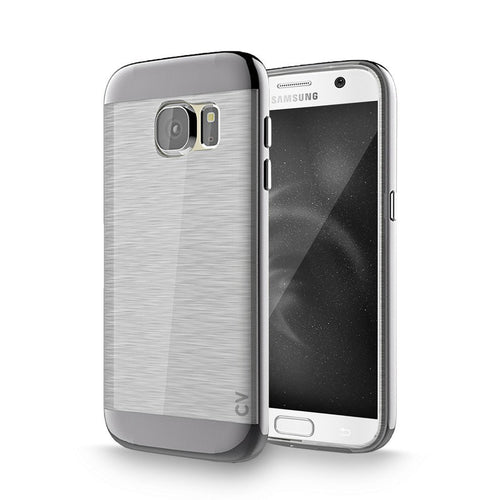 S7 Case, Galaxy S7 Case, Cellularvilla [Slim Fit] [Dual Layer] Metallic Finish Bumper Case [Shockproof] [Brushed Texture] Transparent Clear Back Protective Cover for Samsung Galaxy S7