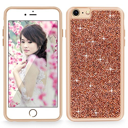iPhone 6 / 6S Case, Cellularvilla [Slim Fit] Luxury Bling Jewel Rock Crystal Rhinestone Diamond Case [Shockproof] Dual Layer Protective Cover for Apple iPhone 6 / iphone 6S 4.7 inch (Rose Gold)
