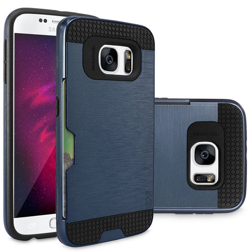 S7 Case, Galaxy S7 Case, Cellularvilla Armour Dual Layer Protective Soft TPU Shockproof Bumper Case with Card Slot Holder Hard Shell Protective Cover For Samsung Galaxy S7