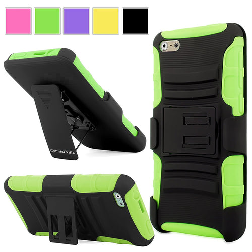 "Apple Iphone 6 6S Case - Cellularvilla Hard Soft Dual Layer Hybrid Armor Holster Kickstand Case with Locking Belt Swivel Clip Cover for Apple iPhone 6 6S 4.7"" inch (Green Black)"