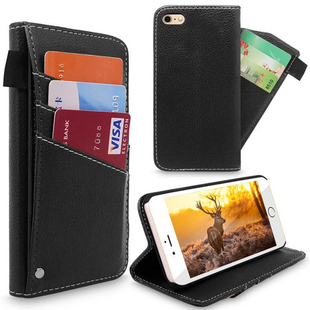 iPhone 6 Plus Case, Cellularvilla iPhone 6S Plus slim fit wallet protective case with kick stand feature, PU leather flip cover, drop protection, 3 card slots For Apple iPhone 6 6S Plus 5.5 inch
