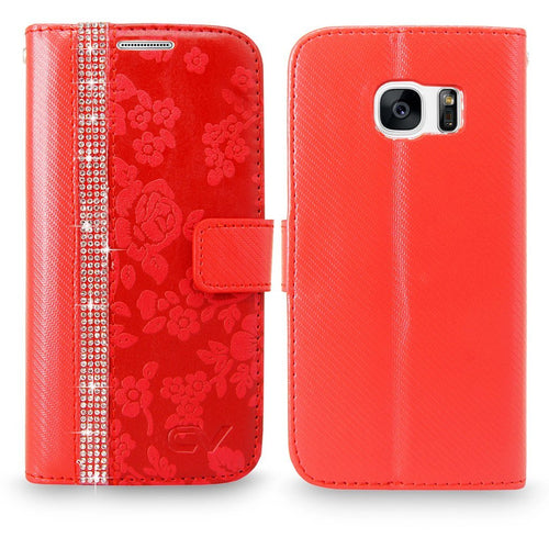 S7 Case, Galaxy S7 Case, Cellularvilla [Diamond Jewel] Embossed Flower Design Premium PU Leather Wallet Case [Card Slots] [Stand Feature] Folio Flip Cover For Samsung Galaxy S7 (Red Bling)