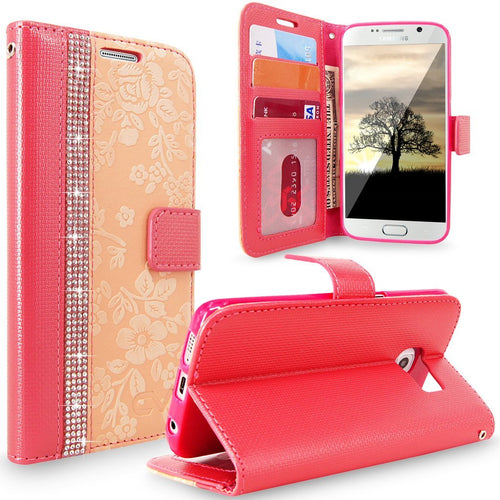 S7 Case, Galaxy S7 Case, Cellularvilla [Diamond Jewel] Embossed Flower Design Premium PU Leather Wallet Case [Card Slots] [Stand Feature] Folio Flip Cover For Samsung Galaxy S7 (Peach Pink Bling)