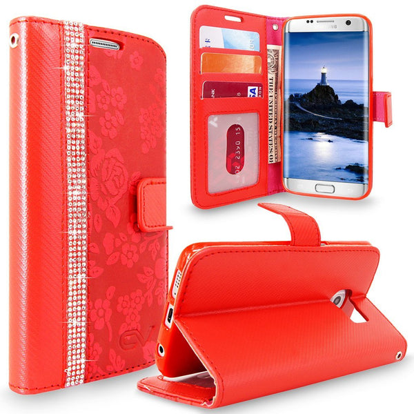 S7 Edge Case, Galaxy S7 Edge Case, Cellularvilla [Diamond Jewel] Embossed Flower Design Premium PU Leather Wallet Case [Card Slots] Folio Flip Cover For Samsung Galaxy S7 Edge