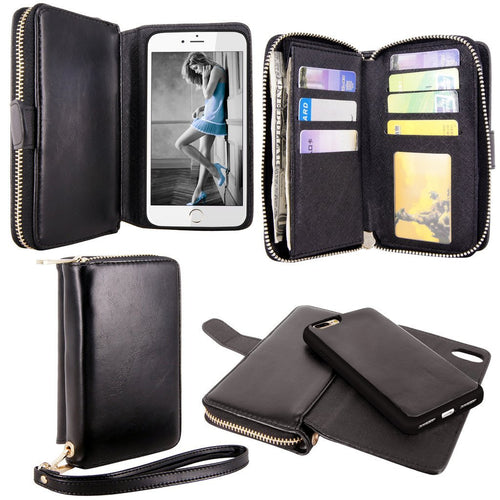 iPhone 7 Plus Case, Cellularvilla [Zipper Wallet] Premium Flip PU Leather Wallet Case [Card Slots] [Shockproof] Magnetic Detachable Protective Back Cover For Apple iPhone 7 Plus