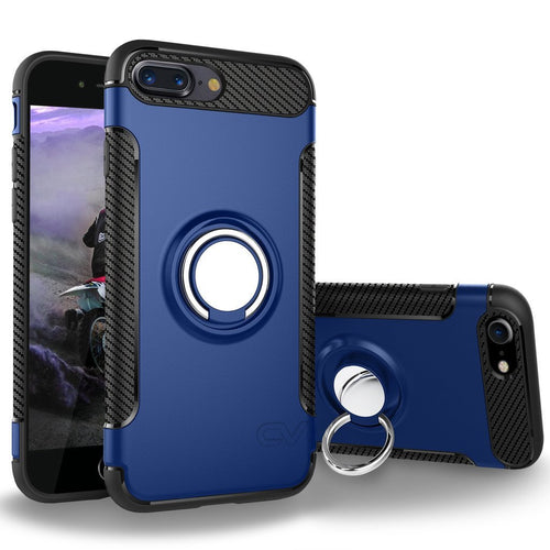 iPhone 7 Plus Case, Cellularvilla [Hybrid] Heavy Duty Dual Layer Protective Case [Shockproof] Built-in Rotating Metal Ring Holder Kickstand Cover for Apple iPhone 7 Plus 5.5 Inch