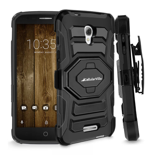 One Touch Fierce 4, Cellularvilla Shockproof [Dual Layer] [Heavy Duty] Armor Rugged Combo Holster Case with [Belt Clip] Swivel Kickstand for Alcatel OneTouch Fierce 4 5056 (T-Mobile/MetroPCS) (Black)