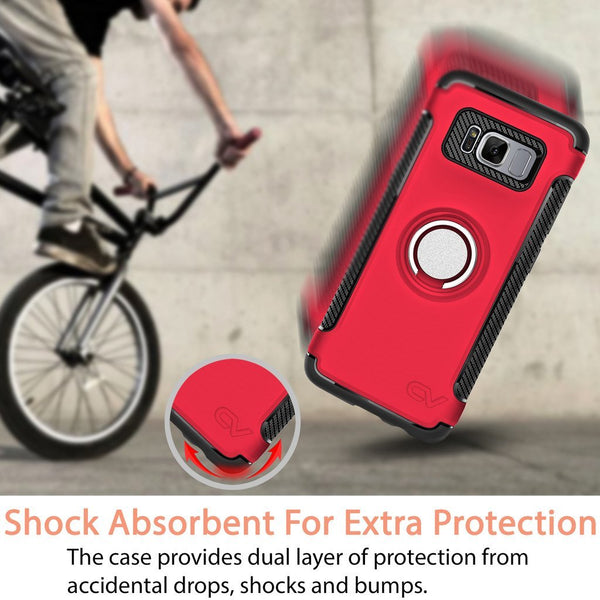Galaxy S8 Plus Case, Cellularvilla [Slim] High Impact Dual Layer Protective Case [Shockproof] Built-in 360 Degree Rotating Ring Holder Kickstand Cover For Samsung Galaxy S8 Plus