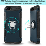 iPhone 7 Case, Cellularvilla [Hybrid] Heavy Duty Dual Layer Protective Case [Shockproof] Built-in 360 Degree Rotating Ring Holder Kickstand Cover for Apple iPhone 7 4.7 Inch 2017