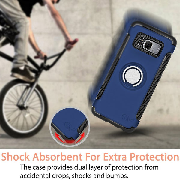 Galaxy S8 Case, Cellularvilla [Heavy Duty] High Impact Dual Layer Protective Case [Shockproof] Built-in 360 Degree Rotating Ring Holder Kickstand Cover For Samsung Galaxy S8