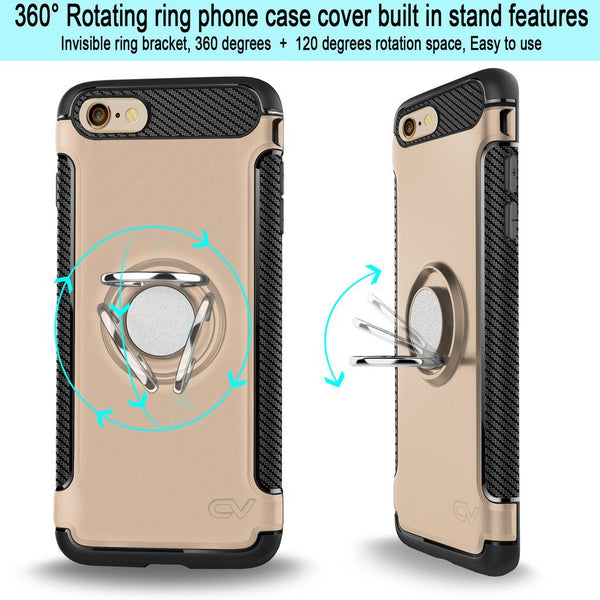 iPhone 6 Plus / Plus Case, Cellularvilla Hybrid Dual Layer Case [Shockproof] Built-in Rotating Ring Holder Kickstand Cover For Apple iPhone 6 Plus / iPhone 6S Plus 5.5 inch