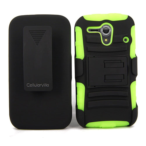 For Kyocera Hydro Edge C5215 CellularvillaTM Black/Green 3PC 3-in-1 Hard and Soft Kickstand Case with Holster Belt Clip. (Black/Green)