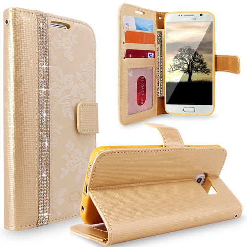 S7 Case, Galaxy S7 Case, Cellularvilla [Diamond Jewel] Embossed Flower Design Premium PU Leather Wallet Case [Card Slots] [Stand Feature] Folio Flip Cover For Samsung Galaxy S7 (Golden Bling)