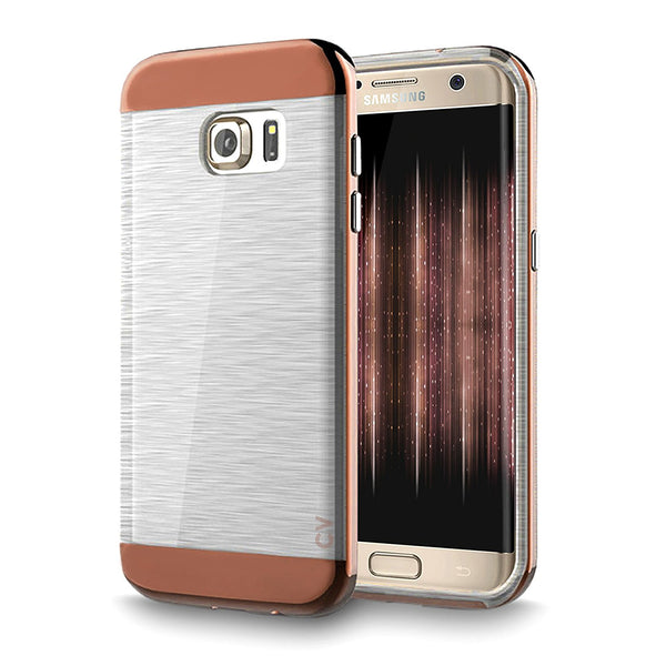 S7 Edge Case, Cellularvilla [Slim Fit] [Dual Layer] Metallic Bumper Case [Scratch Resistant] [Shockproof] Brushed Texture Transparent [Crystal Clear] Back Cover For Samsung Galaxy S7 Edge