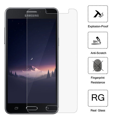 Galaxy On5 Tempered Glass, (2 Pack) Cellularvilla [Anti Scratch] [Bubble Free] [Anti Fingerprint ] Premium Ultra Clear 2.5D Curved Tempered Glass Screen Protector For Samsung Galaxy On5