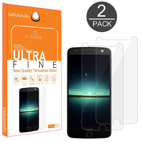 Moto Z Force Droid Screen Protector, (2 Pack) Cellularvilla [Scratch Guard] Premium [Crystal Clear] 2.5D Round Edge Tempered Glass Screen Protector For Motorola Moto Z Force / Moto Z Force Droid