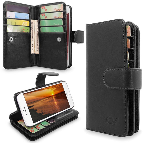 iPhone 6 Case, iPhone 6S Case, Cellularvilla [Stand Feature] Premium PU Leather Flip [12 Card Slots] [Purse] Wallet Case, [Magnetic Detachable] Back Cover For Apple iPhone 6 / 6S 4.7 inch