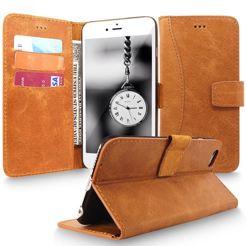iPhone 6 Case, iPhone 6S Case, Cellularvilla [Magnetic Closure] Genuine Real Leather Wallet Case For Apple iPhone 6 / 6S 4.7 Inch [Card Slot] Book Style Folio Stand Protective Cover
