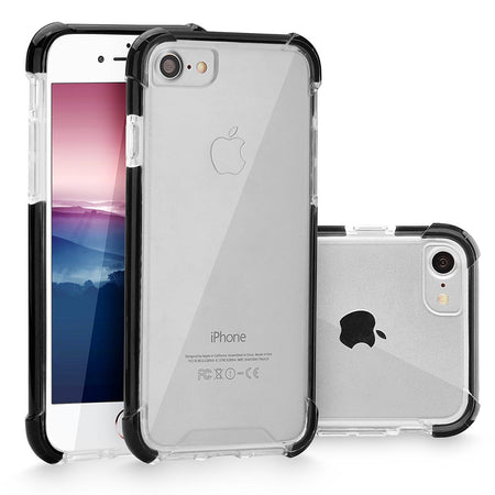 iPhone 7 Case, Cellularvilla [Slim Fit] [Dual Layer] Metallic Finish Bumper [Shockproof] [Brushed Texture] Transparent Clear [Hard Soft] Back Case Cover for Apple iPhone 7 4.7 inch