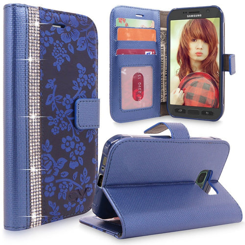 Galaxy S7 Active Case, Cellularvilla [Diamond Jewel] Embossed Flower Design Premium PU Leather Wallet Case [Card Slots] Flip Protective Cover For Samsung Galaxy S7 Active SM-G891