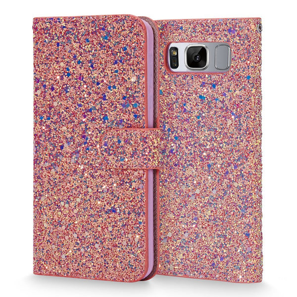 Galaxy S8 Plus case, Cellularvilla [Bling] Luxury Multi Tonal Glitter PU Leather Wallet Case [Card Slot] Flip Folio Protective Shell Stand Cover for Samsung Galaxy S8 Plus